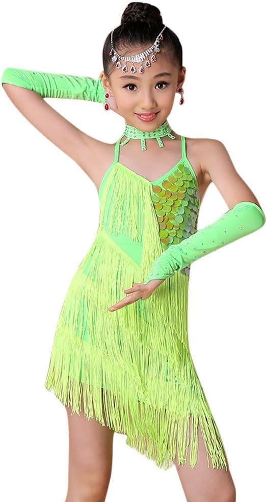 Tefamore Ropa de Baile para Niñas Latino Vestido con Flecos de ...