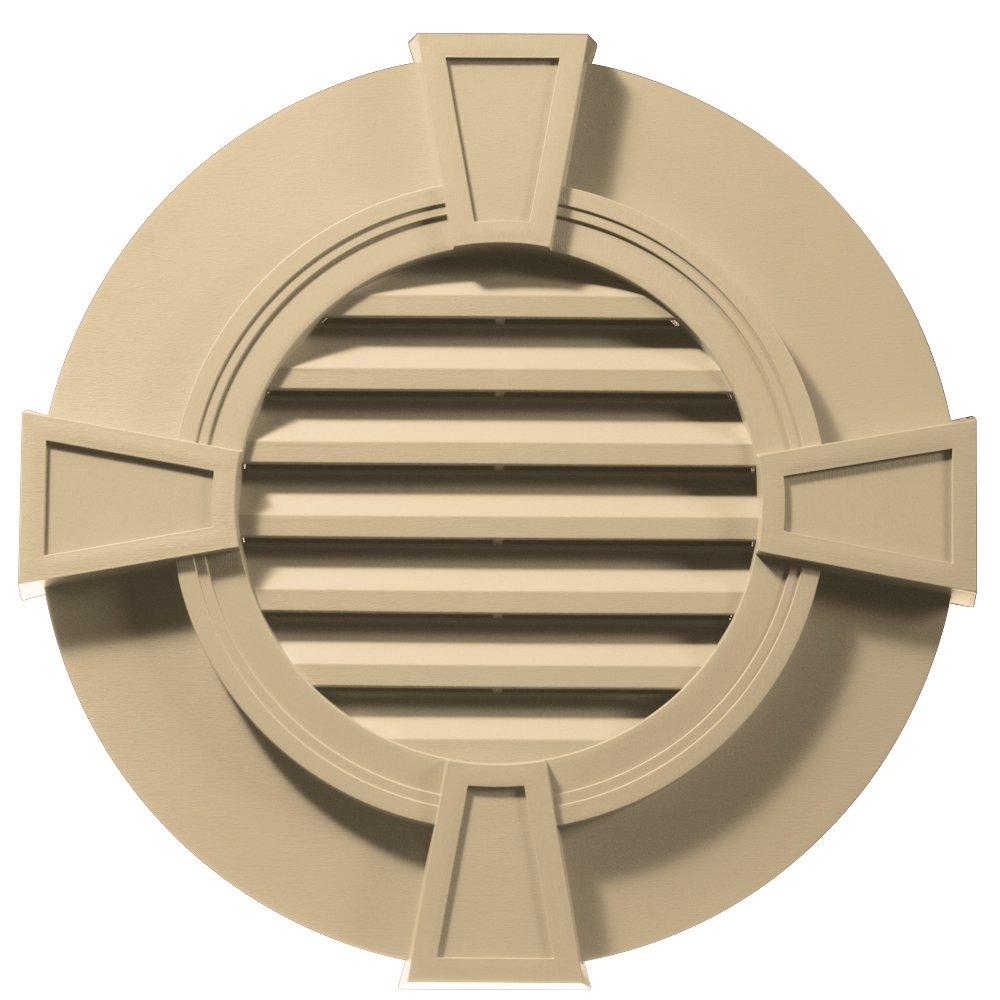 Builders Edge 120033030012 30'' Round Octagon Vent Wide Ring and Keystones 012, Dark Almond