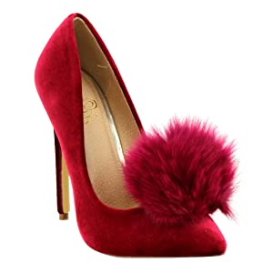 Liliana Affair Velvet Pointy Toe Stiletto High Heel Fur Pom Slip On Pump Slide Shoe Red 7.5