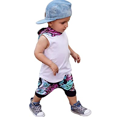 07e03194ab7e Image Unavailable. Image not available for. Color  ❤ Mealeaf ❤ Toddler Kids  Baby Boy Striped Hooded Vest Sleeveless Tops + Shorts