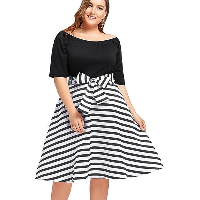 GAMISS Women s Stripe Plus Size Dress with 1 2 Long Sleeve Knee Length  Casual Dress 97476b156b25