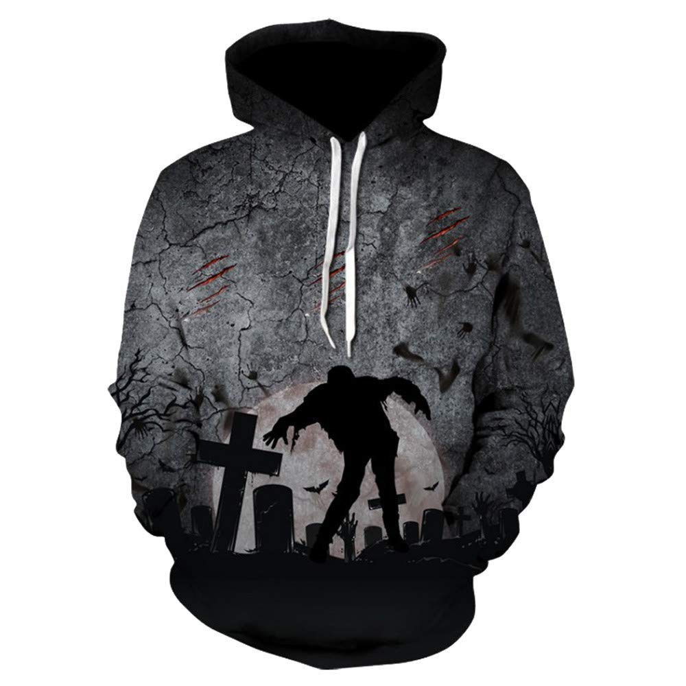 WOCACHI Christmas Halloween Costumes Women Hoodie Zombie Pullover Long Sleeve Sweatshirt Deal Tops Blouse by WOCACHI