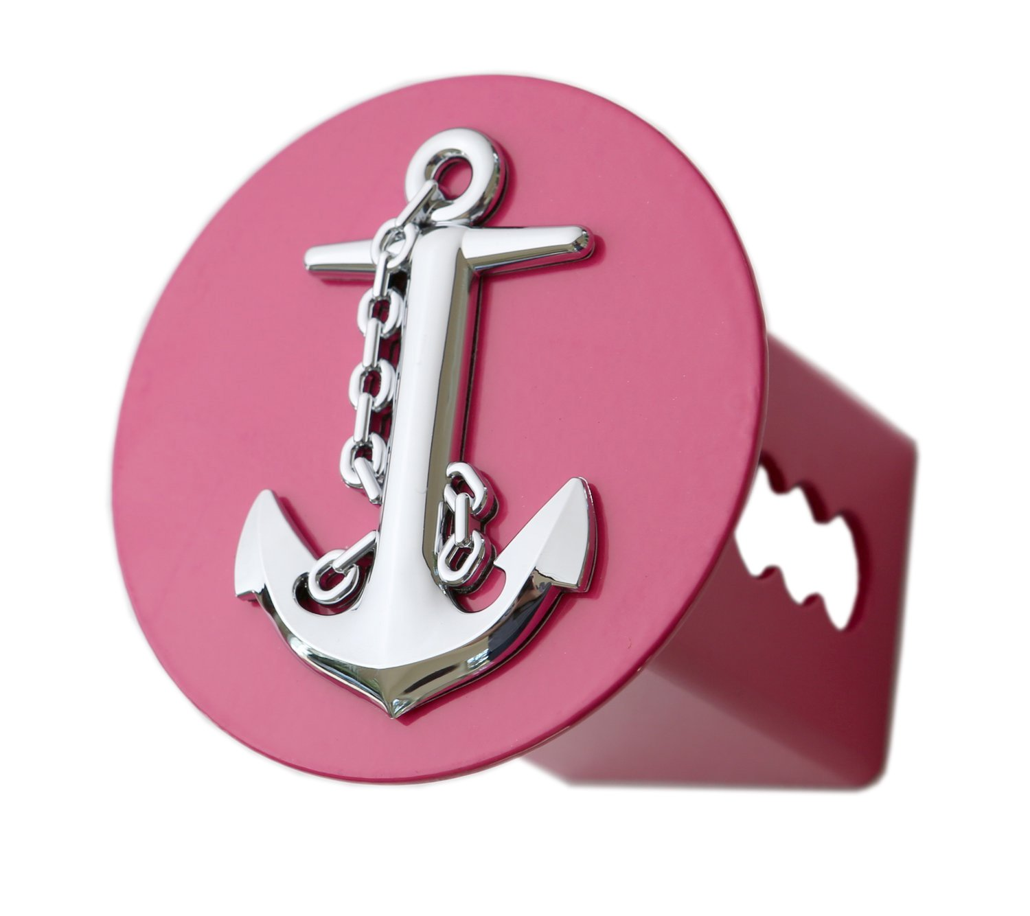 LFPartS 3D Chrome Ship Anchor Emblem on Hot Pink Metal Trailer Hitch Cover Fits 2'' Receivers (round) by LFPartS
