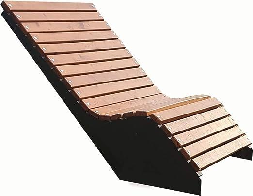 Primario Grande - Tumbona de acero y madera (100 cm de ancho, maciza, para exteriores, para jardín, parque y ciudad) Resistente a la intemperie.: Amazon.es: Hogar