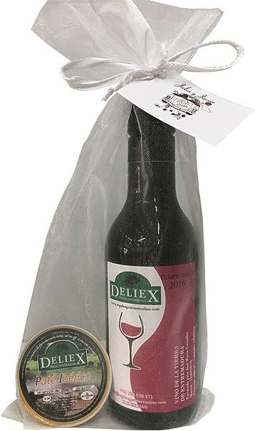 Regalo vino tinto de Extremadura con una monodosis de paté en bolsa de organza para invitados: Amazon.es: Hogar