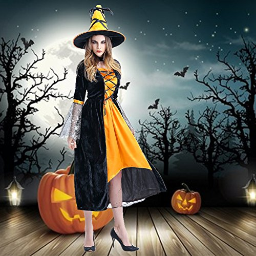 Cosplay suit _ horror role play dress witch cosplay stage installed nightclub theme party Helloween Costume,orange,F -