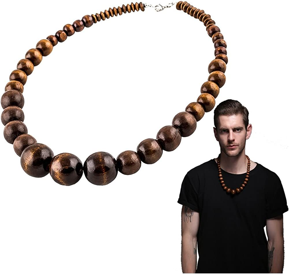 EVBEA Wood Bead Necklace Africa Wooden Chain Statement Unisex Chunky Necklaces
