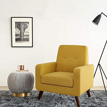 Funkeen Modern Accent Chair Upholstered Comfy Arm Chair Linen Fabric Single  Sofa Chair Living Room Furniture Mustard Yellow