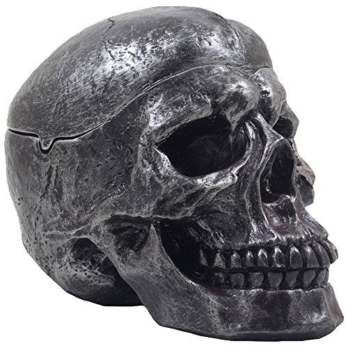 Spooky Human Skull Ashtray with Cover for Scary Halloween Decorations and Decorative Skulls & Skeletons Figurines As Gothic Smoking Room Decor Gifts for Smokers