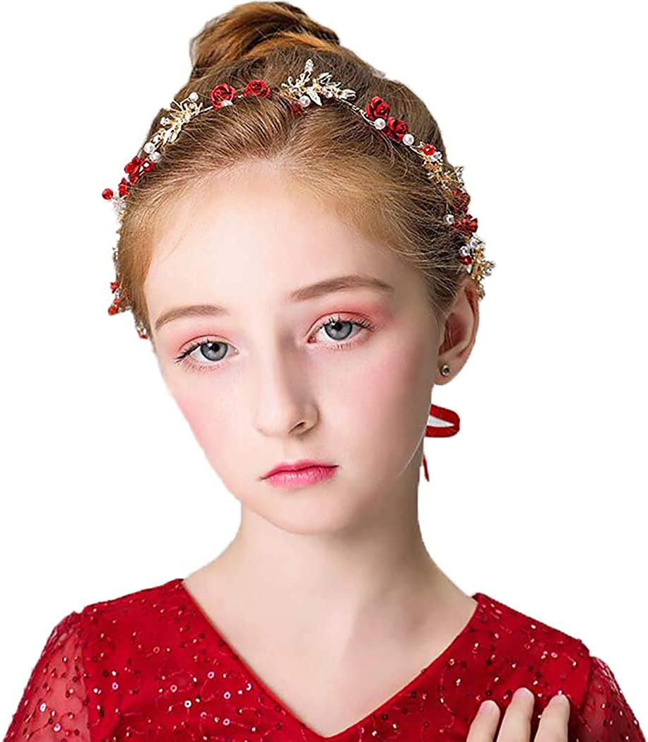 Campsis Sweet Princess Headpiece Rose Tiara Cute First Communion Hair Accessories for Women and Girls
