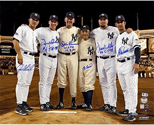 MLB New York Yankees Final Game at Yanke Stadium Perfect Game Signed Metallic Sepia Background 16x20 Photo