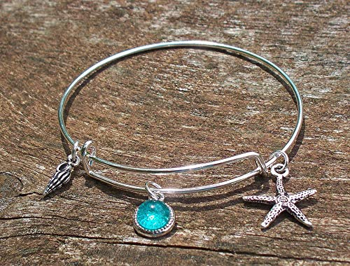 Bracelet Starfish (Recycled Vintage Mason Jar Adjustable Wire Beach Bangle Bracelet)