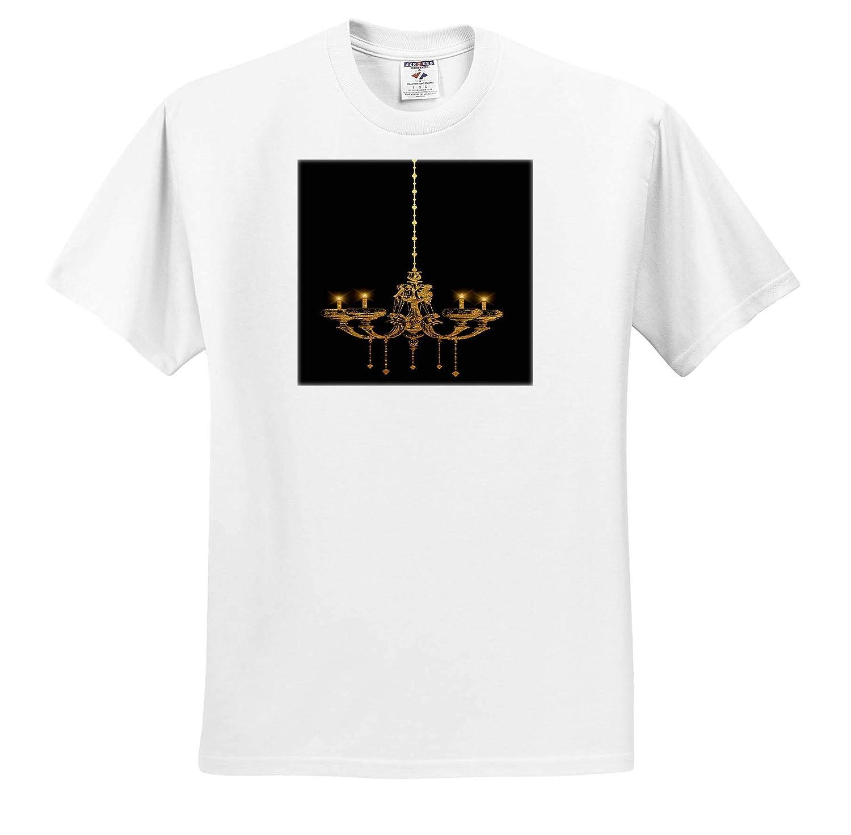 Adult T-Shirt XL Glam Image of Gold Chandelier Illustration 3dRose Anne Marie Baugh ts/_316272 Patterns