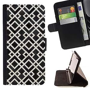 For Sony Xperia Z3 D6603 Case , Modelo blanco Negro Vintage Wallpaper- la tarjeta de Crédito Slots PU Funda de cuero Monedero caso cubierta de piel