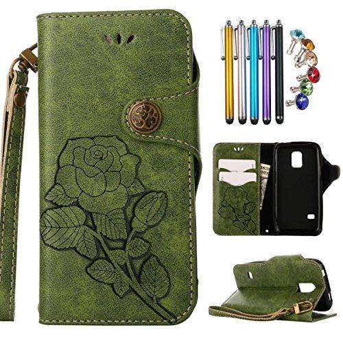 Fente Tpu Cover Jade G800f Silicone Magnétique Carte Etui Protecteur Pochette vert Rétro Mini Lemorry Vert Mini Cuir Portefeuille Galaxy Housse Pour Samsung S5 Coque Rose wnqp7vx