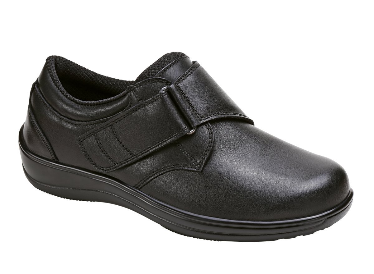 Orthofeet Acadia Comfort Wide Orthopedic Diabetic Walking Womens Velcro Shoes Black Leather 11 M US