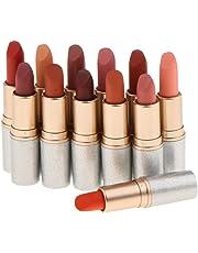 MagiDeal 12 Shades Women Bullet Shape Waterproof Long Lasting Matte Lipstick Lip Gloss Makeup Set Beauty
