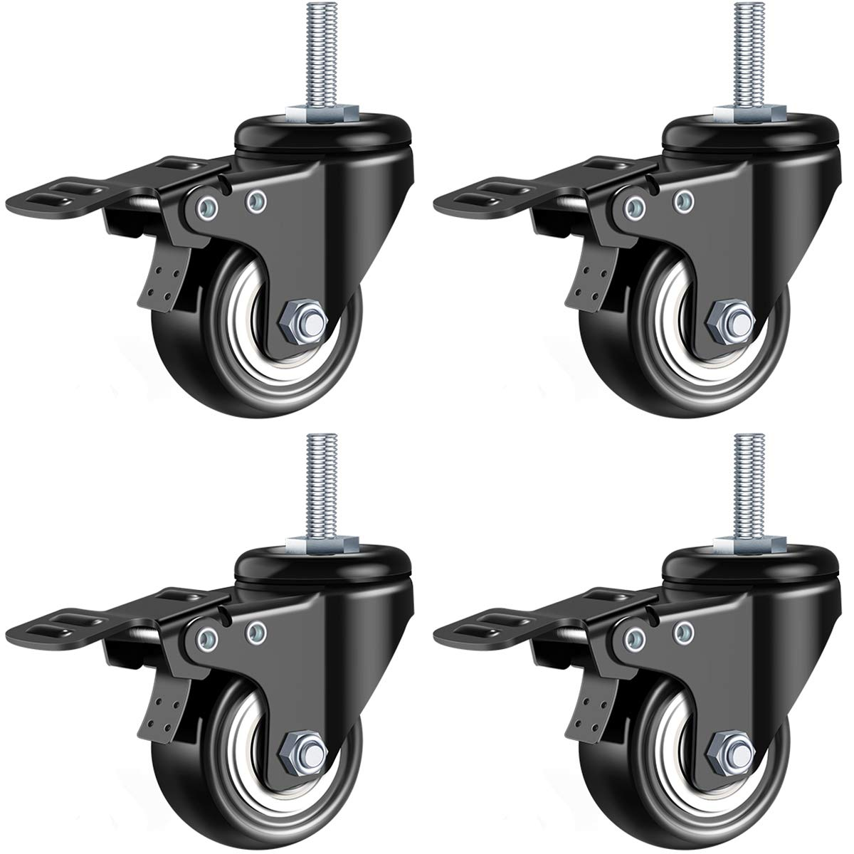 DICASAL 2 Stem Casters Heavy Duty Swivel Stem Casters PU Foam Quite Mute No Noise Castors Markless Wheels Double Bearings and Locks Loading 300 Lbs Pack of 4 with Brake Black