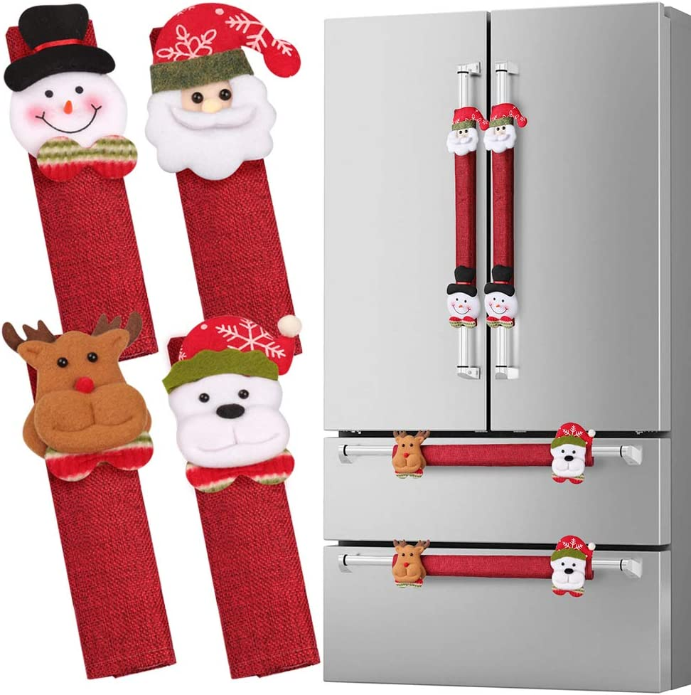 D-FantiX Refrigerator Door Handle Covers Set of 8, Santa Snowman Kitchen Appliance Covers Fridge Microwave Oven Dishwasher Door Handle Protector Christmas Decorations