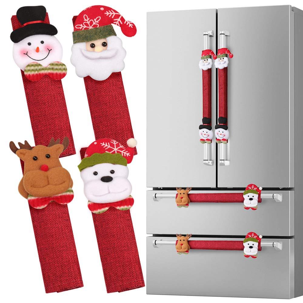 D-FantiX Refrigerator Door Handle Covers Set of 8  Santa Snowman Kitchen Appliance Covers Fridge Microwave Oven Dishwasher Door Handle Protector Christmas Decorations