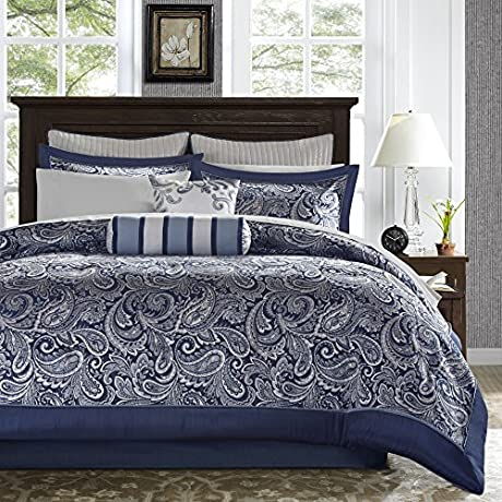 12 Piece Classic Jacquard Comforter Set Cal King Allover Motif Beautiful Paisley Leaf Pattern Stylish Traditional Perfect Fully Elasticized Bedding Unisex Dark Blue Silver Grey Color