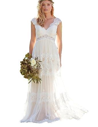 Ladsen Bohemian Cap Sleeve Wedding Dresses Lace Vestido De Noivas Ivory US0 Size