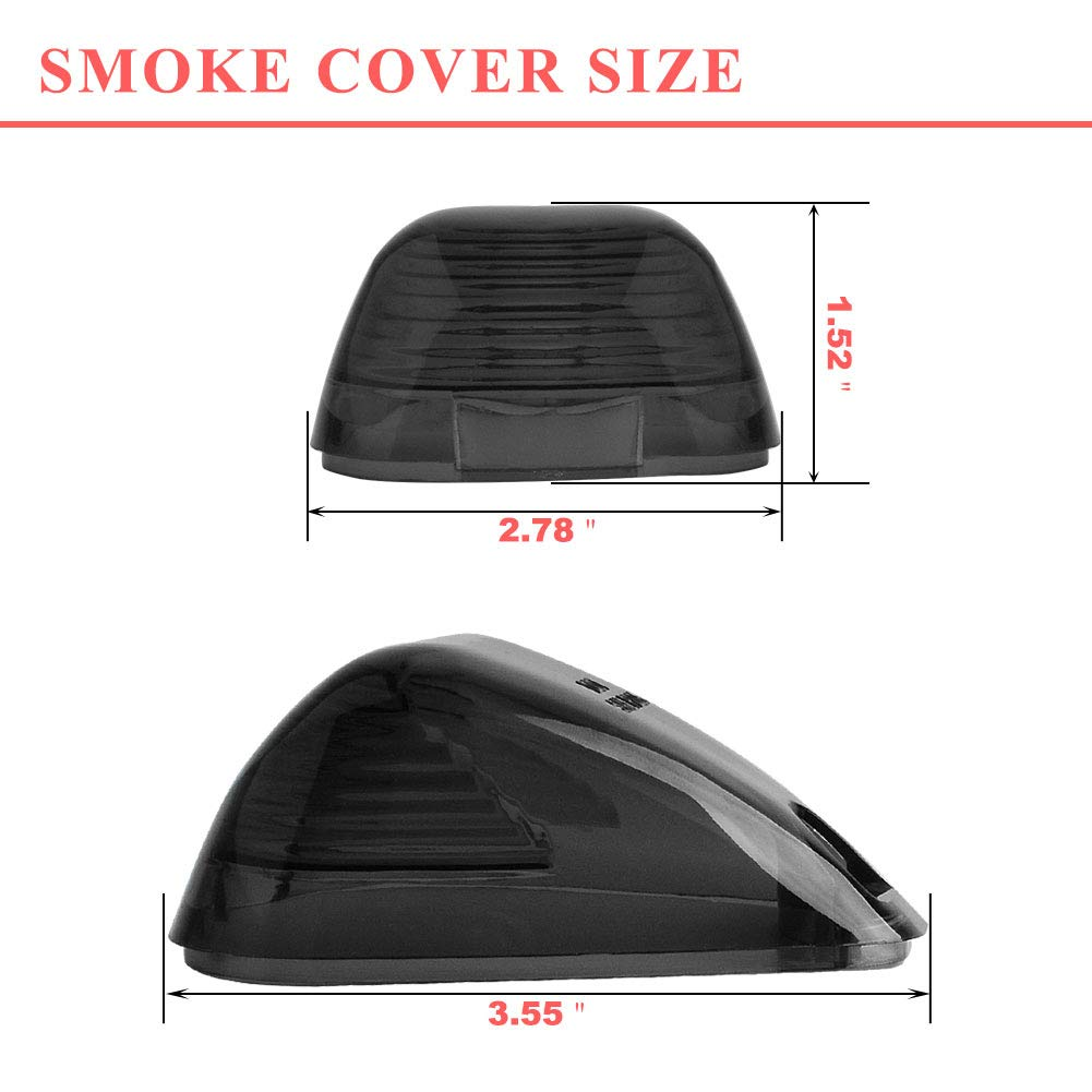 Super Duty Cab Marker Lights Cover,YITAMOTOR Smoke Roof Clearance Lights Cover Lens Aftermarket Replacement Compatible for 1999-2016 Ford F150 F250 F350 F450 F550