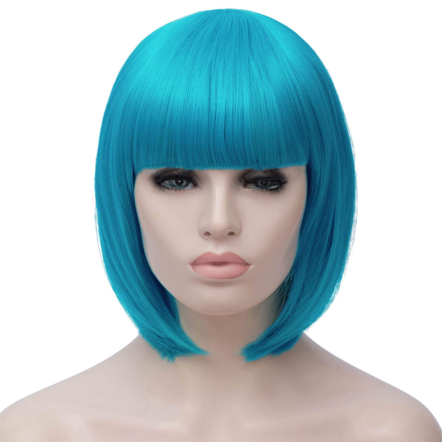 Amazon.com   Short Light Blue Bob Hair Wigs with Bangs for Women Straight  Synthetic Wig Natural As Real Hair 12   with Wig Cap BU27LB   Beauty 2b2129dc11