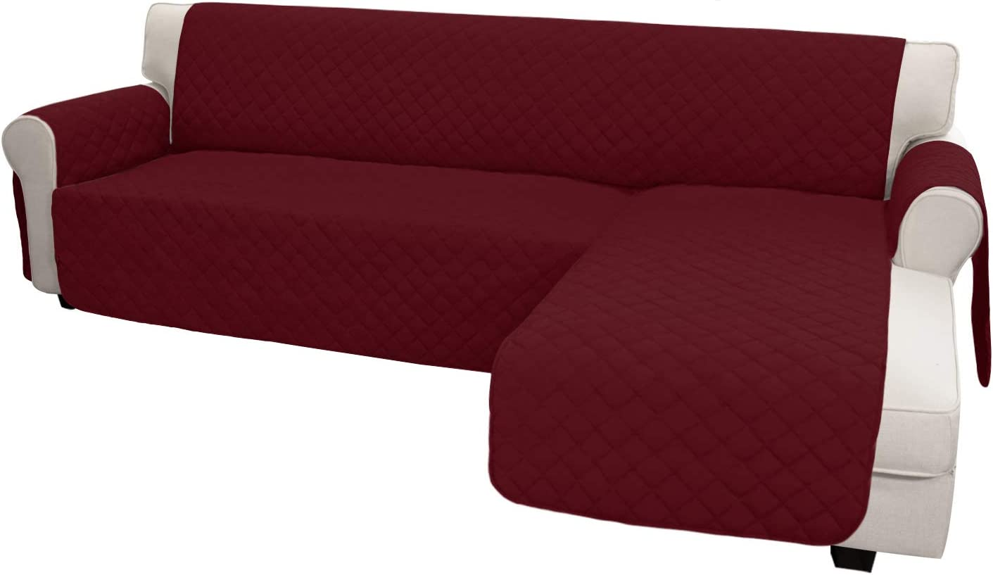 Easy-Going Sofa Slipcover L Shape Sofa Cover Sectional Couch Cover Chaise Cover Reversible Sofa Cover Furniture Protector Cover for Pets Kids Children Dog(Large,ChristmasRed/ChristmasRed)