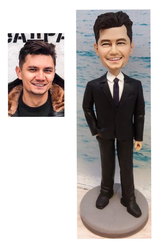 "Amazon.com: 8.6"" Custom Groomsmen Gift Ideas Boyfriend Bobbleheads Gifts  Dolls and Miniatures Personalized Groom Statue Creative Sculpture: Handmade"