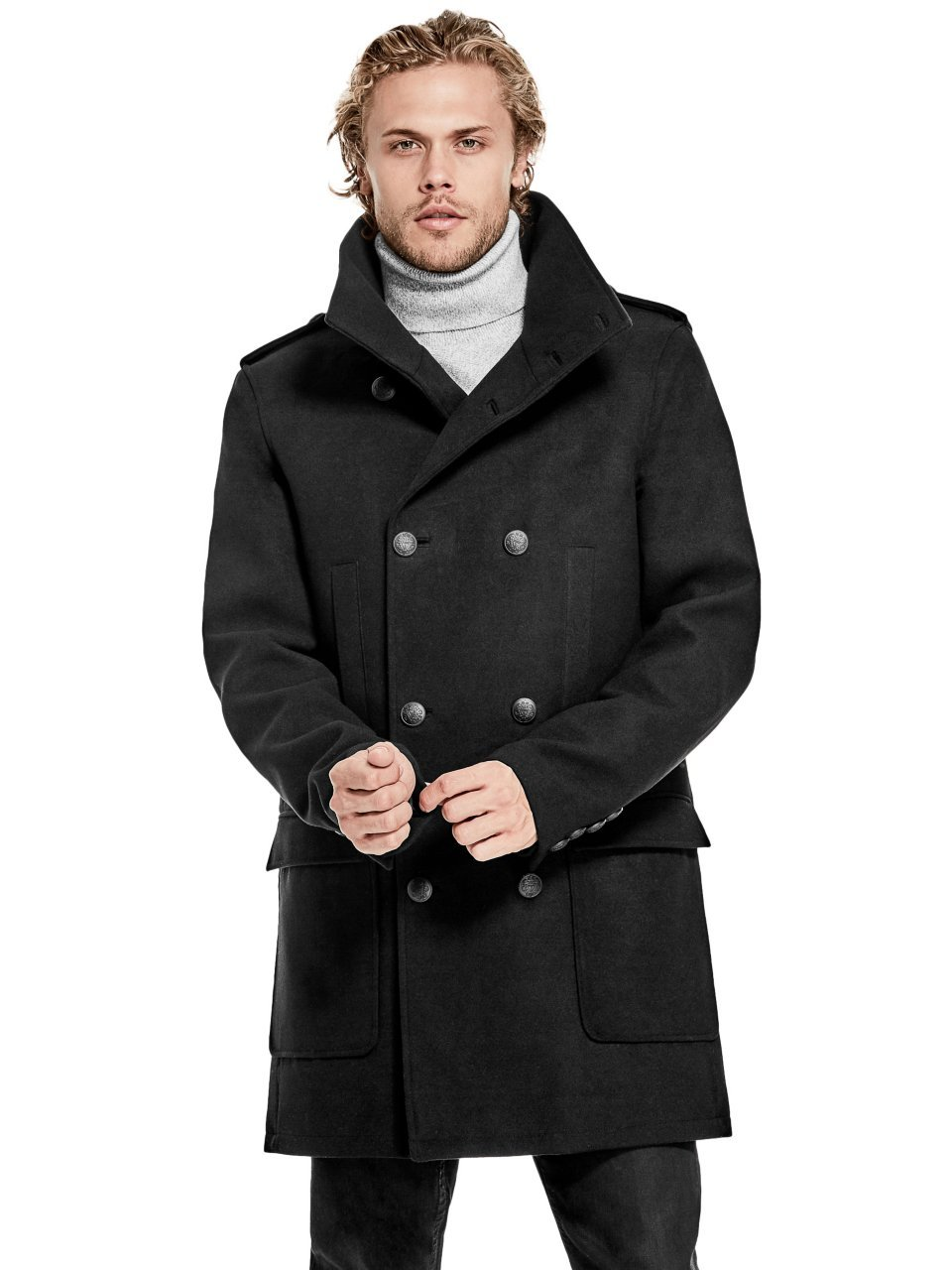 GUESS Men's Harlan Double-Breasted Coat