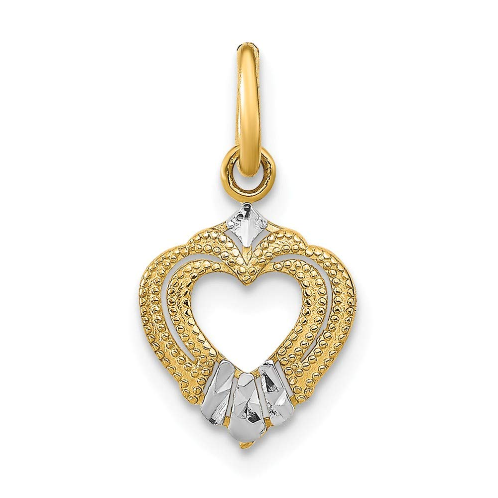 14k Two-tone Gold with White Rhodium Plated Mini Heart Small Charm Pendant