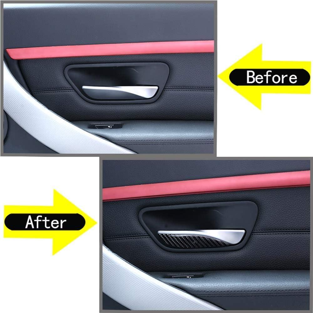 LHSUNTA 4 x Adesivi per Interni con Paillettes per Maniglie delle Portiere in Fibra di Carbonio compatibili con 3 Serie GT F30 F33 F34 F35 2013-2019