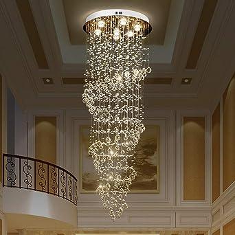 Araña de luces Espiral Lámpara de lujo Crystal Living Room de la lámpara de la lámpara Escalera Villa Luz Luz 7 60 * 170cm Luz colgante: Amazon.es: Iluminación