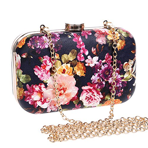 for Evening Handbag Black Fashion Women Bag Flower Wedding Bride Prom Purses Clutch t8wZqz