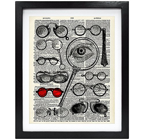 8X10 Unframed Old Eyeglasses Collection Upcycled Vintage Dictionary Art Print Book Art Print Home Decor Wall Art - Eyeglasses Art