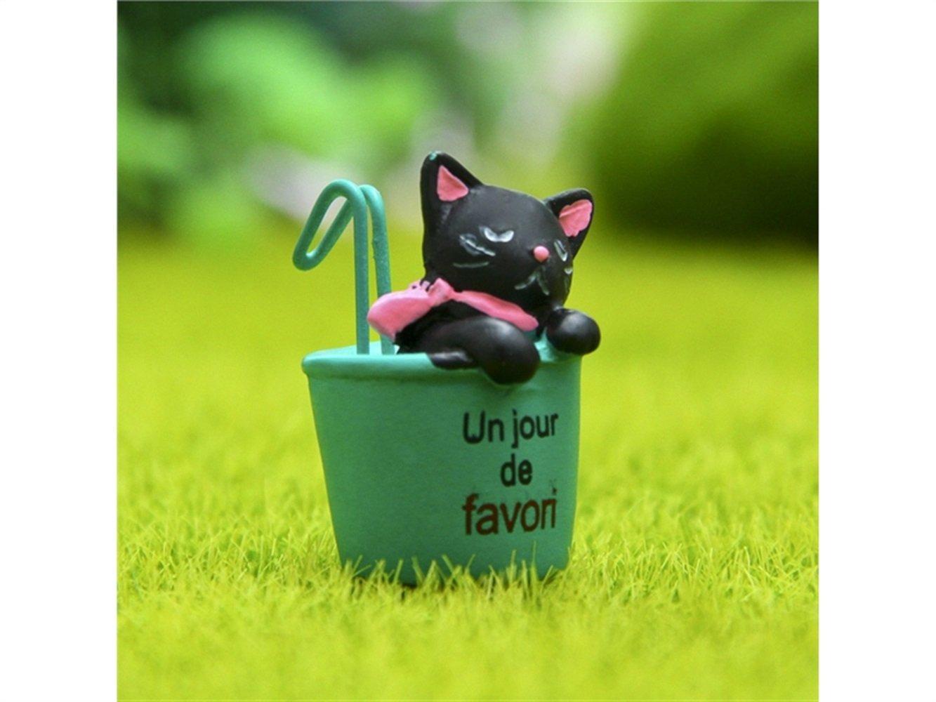 Kxrzu Groß Miniatur Micro Landschaft Ornamente Hängen Tasse Katze DIY Garten Dekor Home Beste Pflanze Geschenk (Grüne Tasse)