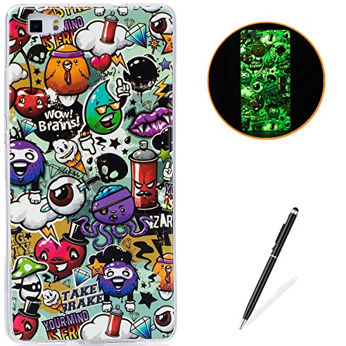 HUAWEI P8 Lite Soft Silicone Gel Case Luminous Effect KaseHom [with Free Black Touch Stylus] Green Glow in the Dark Colourful Cartoon Rubbish Pattern Jelly Clear TPU Skin Cover Bumper Shell ()