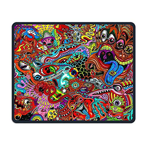 Mouse Pad Abstract Original Cartoon Illustration Rectangle Rubber Mousepad Length 8.66 Width 7.09 Inch Gaming Mouse Pad with Black Lock Edge -