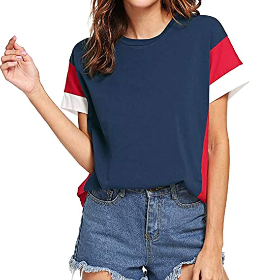 nuevo producto f03e1 d6574 Camiseta Manga Corta Mujer Deporte,Modaworld Blusa De Manga Corta Mujer  Colorblock Blusas Sin Mangas Camisetas De Manga Corta para Mujer
