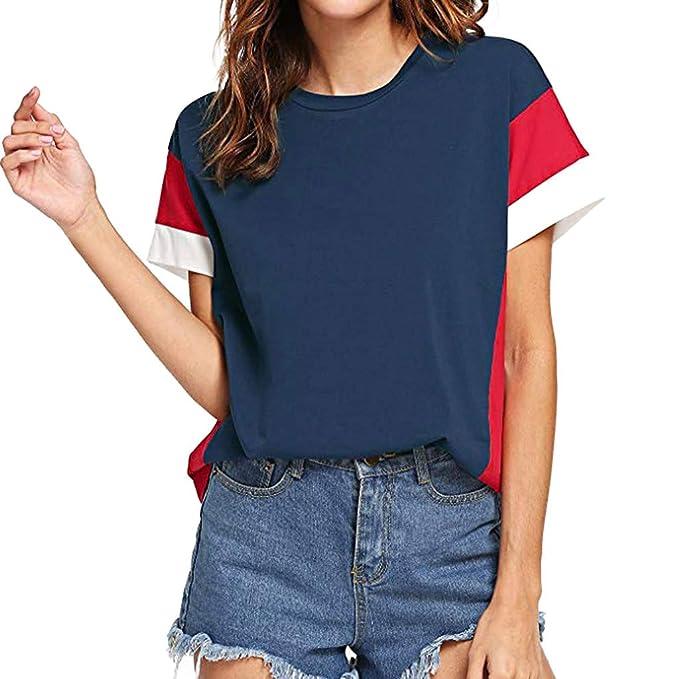 771ddcac40 Luckycat Costura Color De Contraste Cuello Redondo Manga Larga Camiseta  Mujer Top