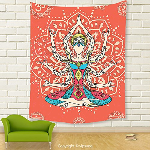 Vipsung House Decor Tapestry_Yoga Decor Yoga Technique With Ethnic Costume Insignia Zen Discipline Your Body And Mind Artprint Decores Cream Red Teal_Wall Hanging For Bedroom Living Room (Frida Kahlo Costume Halloween)