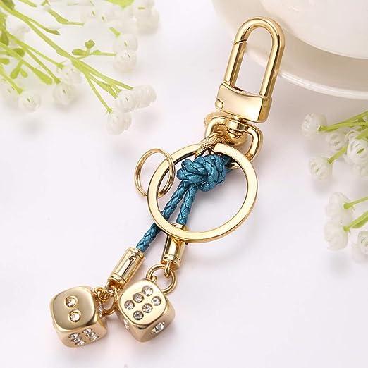 SLH Llavero Hombres Y Mujeres Golden Dice Car Key Chain Ring ...