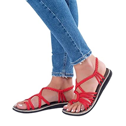 Sandalias De Mujer Verano Chanclas Zapatos Tejidos Correa De Moda