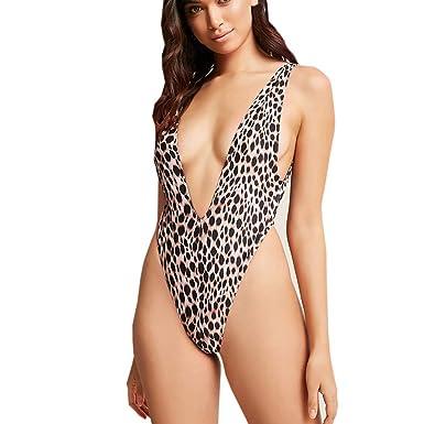 bde5e5419 Gooldu Women Leopard Print Bikini One-Piece Swimsuit Push Up Printed Bikini  Beach Bathing Holiday Swimsuit Swimwear at Amazon Women's Clothing store: