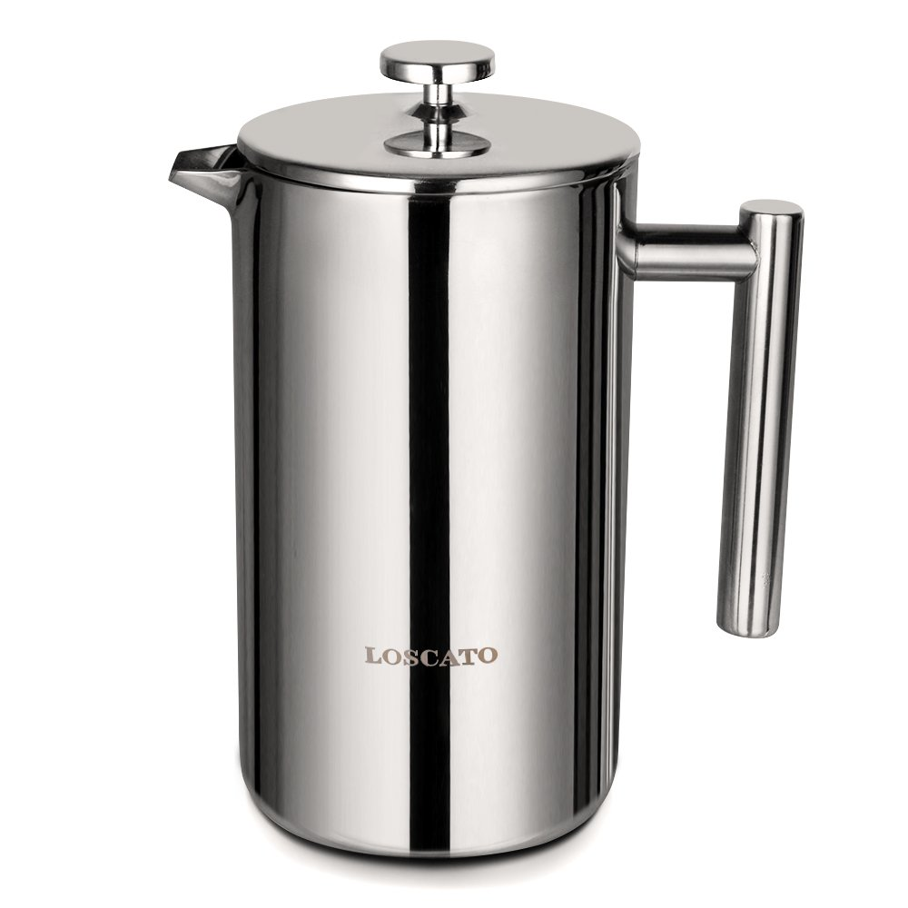 LOSCATO 34OZ Double Wall Stainless Steel French Press Coffee Maker (1L) by LOSCATO (Image #1)