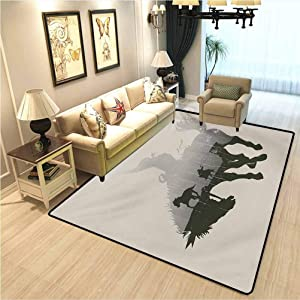Western Couple Living Room Carpet Western Theme Cowboy Chasing Wild Horse in The Desert Rodeo Cowboy Theme Modern Home Decoration Carpet Pale Grey Dark Green W6xL8.8 Ft