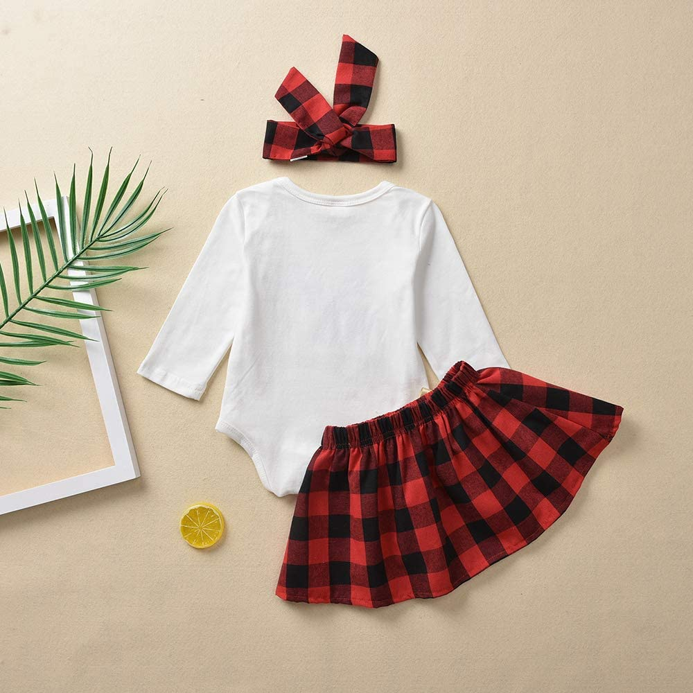 Baby Girl Clothes My 1st Christmas Bodysuit+Plaid Skirt+Headband 3PCS Outfits