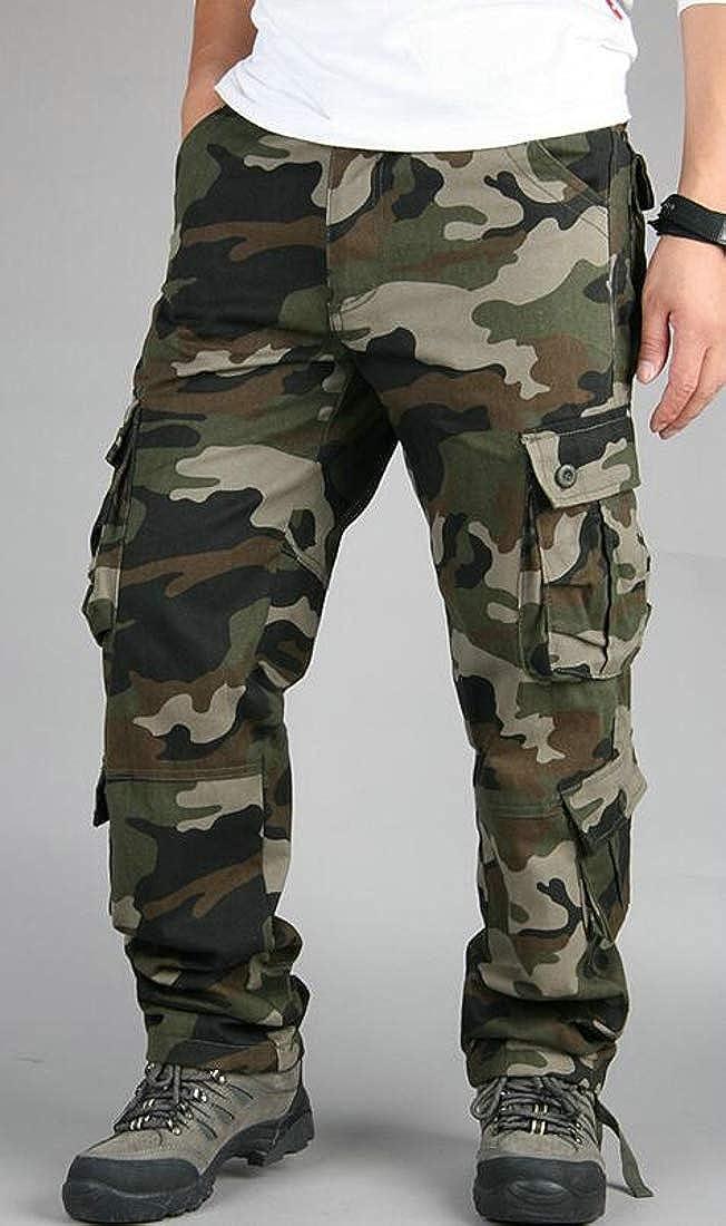 Macondoo Men Cargo Multi Pockets Big and Tall Outdoor Camo Pants