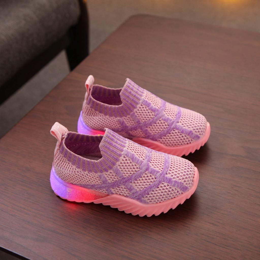 Kids Boys Girls Led Light Walking Shoes 1-6 Years Old Toddler Baby Fashion Stretch Lightweight Tennis Shoes